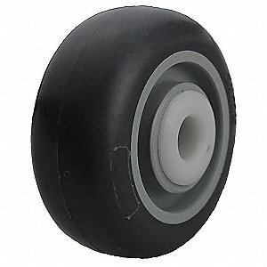 "3"" Caster Wheel, 200 lb. Load Rating, Wheel Width 1-1/4"", Thermoplastic Rubber, Fits Axle Dia. 3/8"""