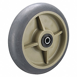"5"" Caster Wheel, 350 lb. Load Rating, Wheel Width 2"", Thermoplastic Rubber, Fits Axle Dia. 1/2"""