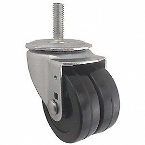 Dual Wheel Swvl Castr,Rubber,3 in,350 lb