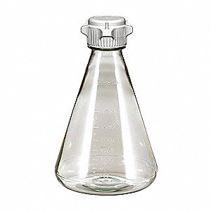 2000mL / 67.6 oz. Plastic Erlenmeyer Flask, Clear, Height: 265mm, 6 PK