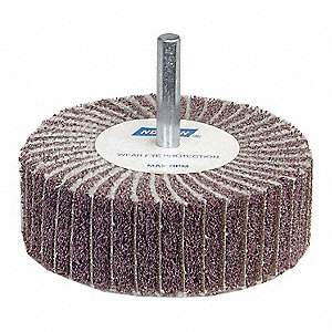 "Non-Woven Aluminum Oxide Mounted Flap Wheel, Straight Shank Type, 2"" Dia., 1"" Face Width,"