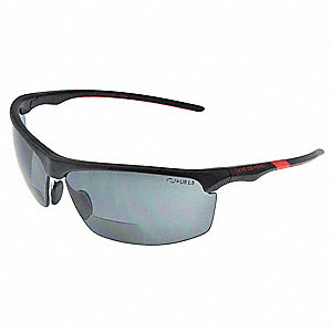 Bifocal Safety Read Glasses,+2.50,Gray