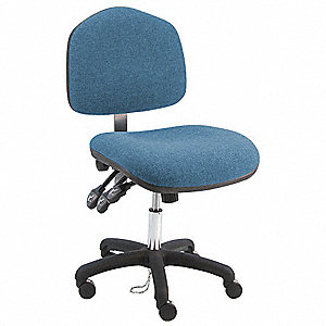 "Vinyl Ergonomic Chair with 17"" to 22"" Seat Height Range and 450 lb. Weight Capacity, Blue"
