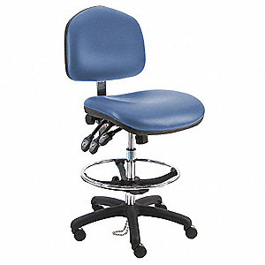 "Vinyl Ergonomic Chair with 21"" to 31"" Seat Height Range and 450 lb. Weight Capacity, Blue"