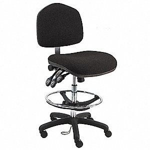 "Fabric Ergonomic Chair with 21"" to 31"" Seat Height Range and 450 lb. Weight Capacity, Black"