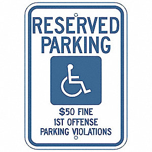 "Handicap Parking Sign,18""H,12""W,Alum"