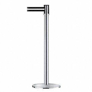 SATIN CHROME POST W/BELT BLACK WITH