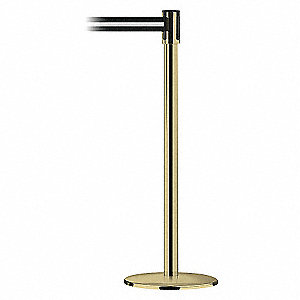 POLISHED BRASS POST W/BEL BLACK W