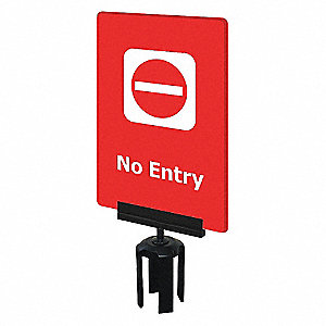 AFFICHE ACRYLIQUE,ROUGE, NO ENTRY
