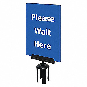 ACRYLIC SIGN,BLUE,PLEASE WAIT HERE