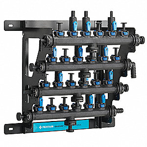 "18"" Zytel Nylon Barbed Fitting Manifold, 4 Number of Inlets, 32 Number of Outlets"