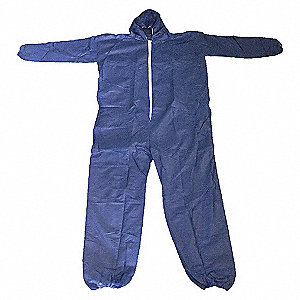 COVERALLS PP DISP HOOD BLUE XL PK25