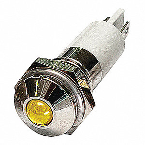 ROUND INDICATOR LIGHT,YELLOW,12VDC