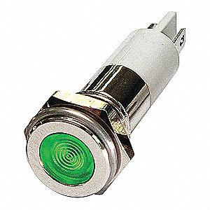 FLAT INDICATOR LIGHT,GREEN,110VAC