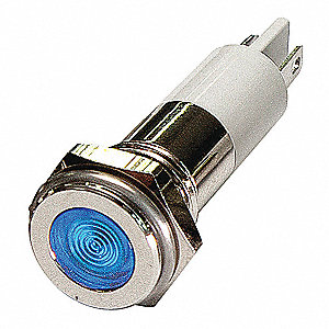 FLAT INDICATOR LIGHT,BLUE,110VAC