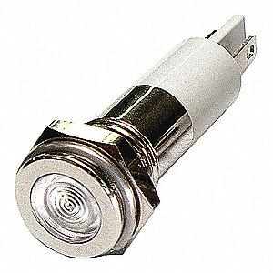 FLAT INDICATOR LIGHT,WHITE,110VAC