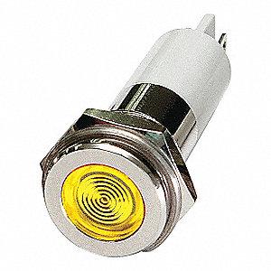 FLAT INDICATOR LIGHT,YELLOW,12VDC