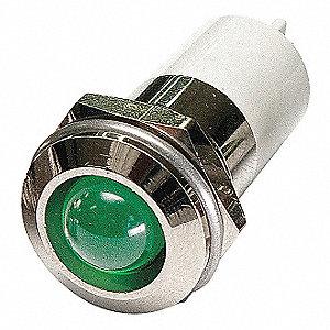 ROUND INDICATOR LIGHT,GREEN,110VAC