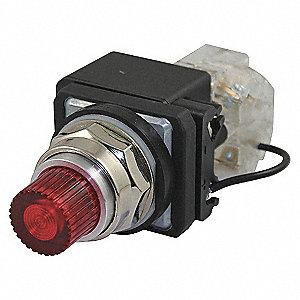 PILOT LIGHT,LED,120VAC,30MM,CHROME,