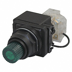 PILOTLIGHT,LED,120VAC/DC,30MM,PLAST