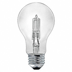 LAMP,HALOGEN,53W,A19,CLEAR,120V,PK2