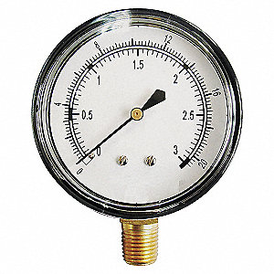 PRESSURE GAUGE,2 1/2 IN,0 TO 10 PSI