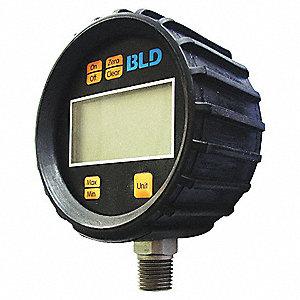 LCD PRESSURE GAUGE,300 PSI,4.5 DIGI
