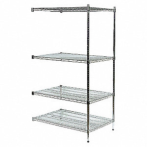 SHELVING,ADD-ON,H 85,W 72,D 36,ZINC