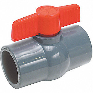 PVC BALL VALVE,INLINE,SOCKET,2 IN
