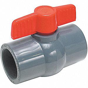 PVC BALL VALVE,INLINE,FNPT,1-1/4 IN