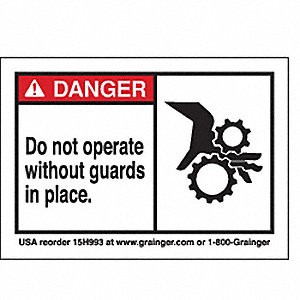 SIGN3.5X5,DONOTOPERATE W/O GUARDS I