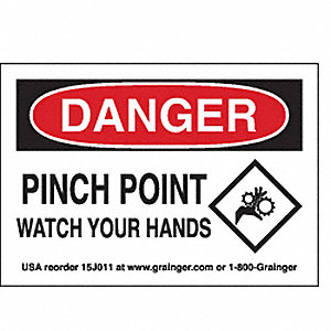 SIGN,3.5X5,PINCH POINTSWATCH YOURHA