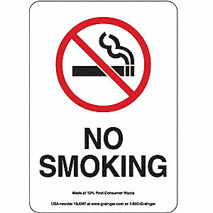 SIGN,10X7,NO SMOKING, PLASTIC