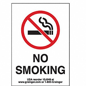 SIGN,3.5X5,NO SMOKINGWITH PICTOGRAM