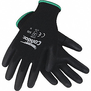 COATED GLOVES,M,BLACK/BLACK,PR