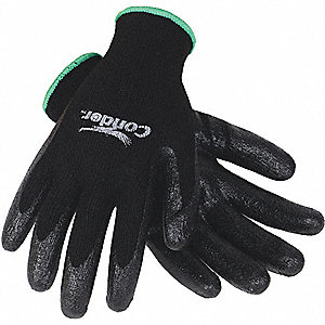 COATED GLOVES,S,BLACK/BLACK