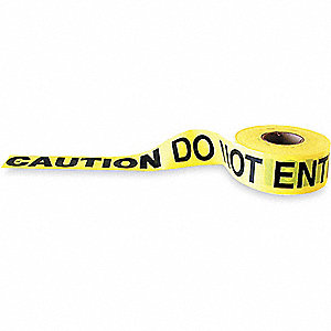 BARRICADE TAPE,YELLOW/BLACK,1000FT