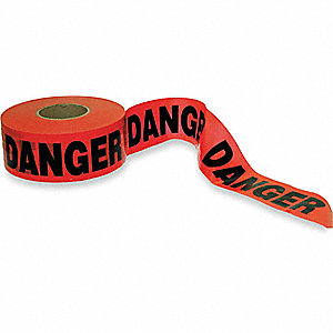 BARRICADE TAPE,RED/BLACK,1000 FT X