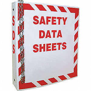 MSDS BINDER,RED ON WHITE