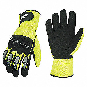 MECHANICS GLOVES,HI-VIS,YELLOW,L