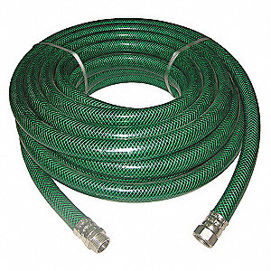 WATER HOSE,RNFRCD PVC,1 IN ID,50 FT