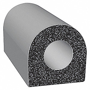 RUBBER SEAL,D-SECTION,0.5 IN W,25 F