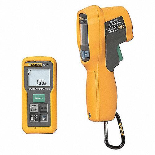 Kit de Medidor de Distancia y Termómetro Infrarrojo, Instrumentos de Prueba Incluidos Termómetro Infrarrojo, Medidor Láser de Distancia