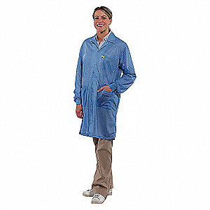 LAB COAT WITH CUFF,L,BLUE