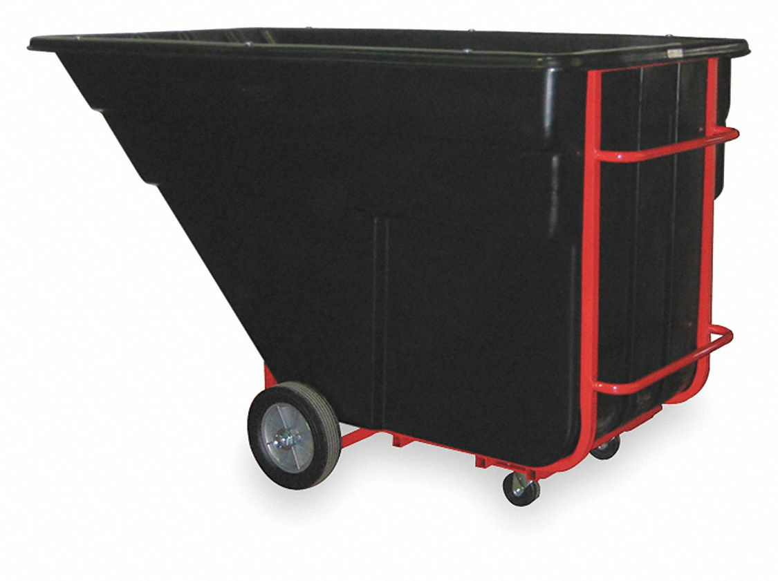 Black,  Forkliftable Plastic Tilt Truck,  67.5 cu ft,  2,300 lb Load Capacity
