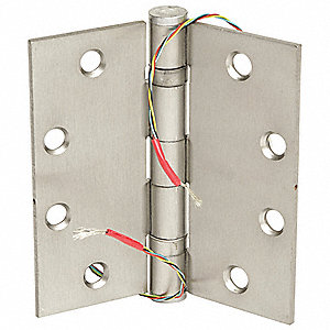 Electrified Hinge with Satin Chrome Finish, Full Mortise Mounting, 4 Holes per Leaf