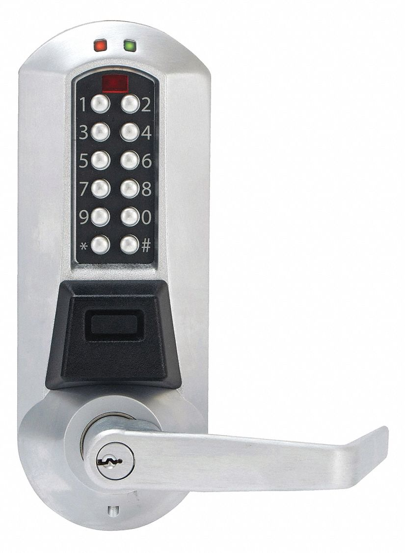 Electronic Locks, 2-3/4 in Backset, Cylindrical, Satin Chrome, 1/2 in Latch Length