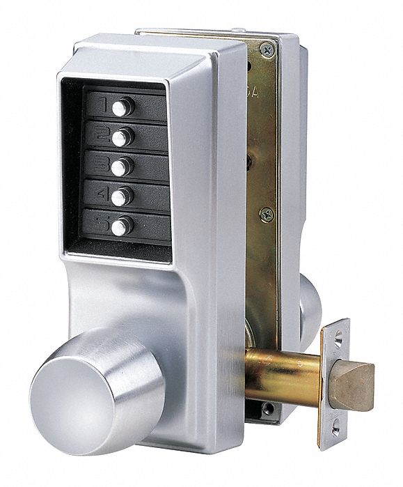 Mechanical Push Button Lockset,  Knob,  Entry,  None Key Override Options,  Nonhanded