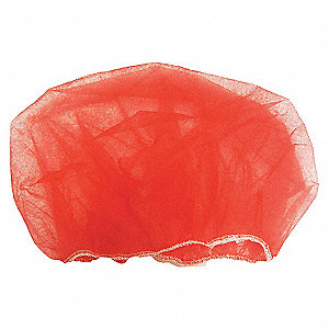 BOUFFANT CAPS PP NONWOVEN 18IN RED