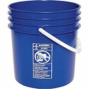 PLASTIC PAIL,ROUND,BLUE,CAP 5 GAL